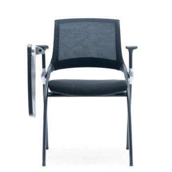 Посетителски стол RFG Swiss Table M, дамаска и меш, черна седалка, черна облегалка, 2 броя в комплект image