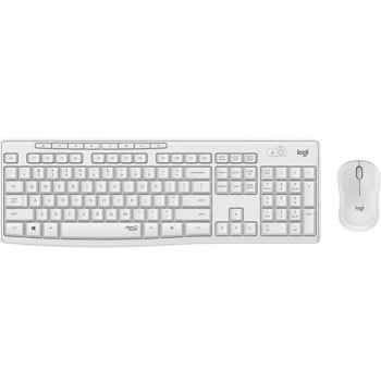 Комплект клавиатура и мишка Logitech MK295 Silent Wireless Combo (920-009824), безжични, мултимедийни клавиши, технология SilentTouch, регулируема височина на клавиатурата, бели image
