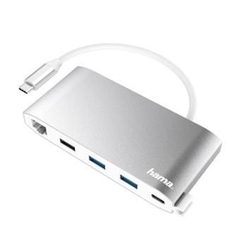 USB Хъб Hama 200111, 8 портов, 3x USB-A 2.0, 2 x USB-C, 1 x VGA, 1 x HDMI, 1 x LAN / Ethernet, бял image