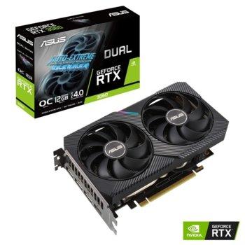Видео карта NVIDIA GeForce RTX 3060, 12GB, ASUS Dual GeForce RTX 3060 OC Edition, PCI-E 4.0, GDDR6, 192-bit, DisplayPort, HDMI image