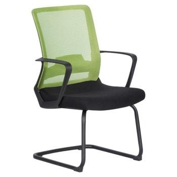 Посетителски стол Carmen 7564, до 100кг, дамаска/мрежа, метална база, черно-зелен image