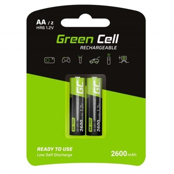 Акумулаторна батерия Green Cell GR05-R6-2600mA, AA, R6, 1.2V, 2600mAh, NiMH, 2бр. image