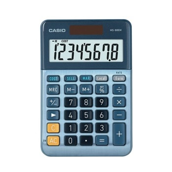 Калкулатор Casio MS-88EM, 8-цифрен LCD дисплей, джобен, изчисляване на %, преобразуване на валута, бутон за бърза корекция, син image
