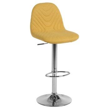 Бар стол Carmen 3085, дамаска, хромирана база, газов амортисьор, коригиране на височината, жълт image