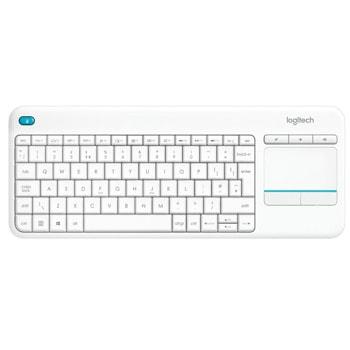 Клавиатура Logitech K400 PLUS, безжична, тъчпад, бяла, USB image