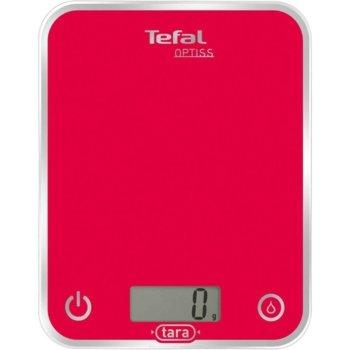 Кухненски кантар Tefal BC5003V2, Optiss, дигитален, ултра тънък стъклен дизайн, възможност за мерене в мл., ръчно и автоматично вкл/изкл, капацитет 5кг, функция тара, червен image