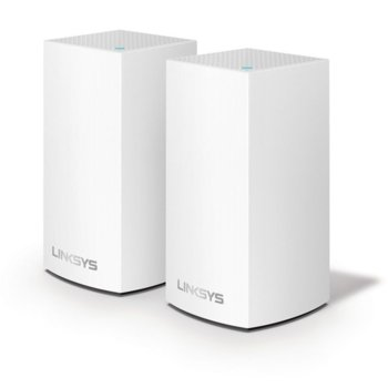 Wi-Fi система(2x бр.) Linksys Velop Intelligent Mesh WHW0102, 1300Mbps, 2.4GHz(400Mbps)/5GHz(867Mbps), Wireless AC, 1x LAN1000, 1x WAN1000, 3x вътрешни антени, 256MB Flash памет, 256MB RAM, Bluetooth 4.0 image