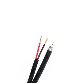 Комбиниран коаксиален кабел CCTV+2x0.5 B, 2x0.5мм(16х0,19мм), Ø 6.5 мм, екраниран, 100m ролка, черен image