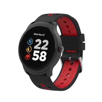 "Смарт часовник Canyon Oregano, 1.3"" (3.3 cm) сензорен дисплей, Bluetooth 4.2, IP68 водоустойчивост, iOS/Android, черен/червен image"