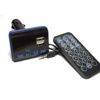 FM трансмитер DeTech, Bluetooth, дистанционно, поддържа SD карти и USB image