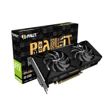 Видео карта nVidia GeForce RTX 2060 SUPER, 8GB, Palit GeForce RTX 2060 SUPER DUAL, PCI-E 3.0, GDDR6, 256bit, DisplayPort, HDMI, DVI image