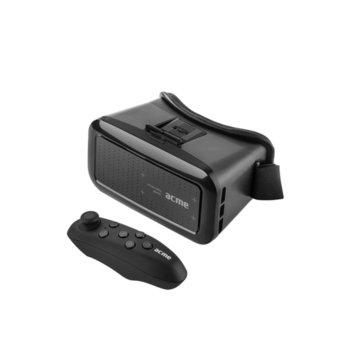 """Очила за виртуална реалност Acme VRB01RC, 90° зрителен ъгъл, Bluetooth, дистанционно, съвместими със смартфони с диагонал от 4"""" до 6"""", черни image"""