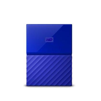 """Твърд диск 2TB Western Digital MyPassport Blue (син), външен, 2.5"""" (6.35 cm), USB 3.0 image"""