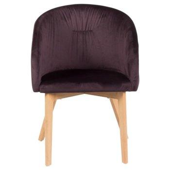 Трапезен стол Carmen 522, дамаска, метал, тъмно кафяв image