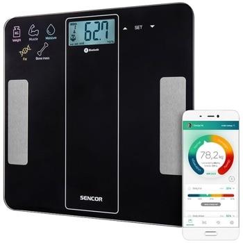 Електронен кантар SBS 8000BK, капацитет 180 кг, сензорни бутони, изчисляване на калории, LCD дисплей, черен image