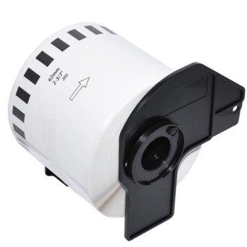 Лента за етикетен принтер Brother DK-22205, черно върху бяло, 62mm x 30.48m image