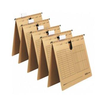 Папка картотека Herlitz, Л-образна, изработена от картон, с метални шини, бежова, 5бр. в опаковка image