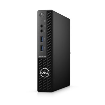 Настолен компютър Dell OptiPlex 3080 MFF (N021O3080MFFEM_UBU), шестядрен Comet Lake Intel Core i5-10500T 2.3/3.8 GHz, 8GB DDR4, 256GB SSD, 4x USB 3.2 Gen 1, клавиатура и мишка, Linux image
