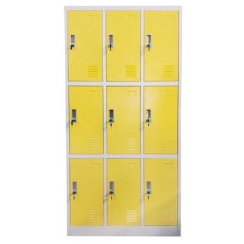 Метален шкаф RFG DZX-076/RAL1023, 9x шкафове, прахово боядисан, метален, заключване, вентилационен отвор, сив/жълт image