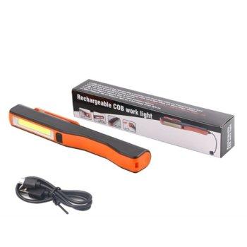 Фенер Zik micro USB A80, вградена презареждаема батерия, 3W COB работна лампа, 1 W LED Фенерче, силен магнит позволяващ закрепянето за метални повърхности, черен image