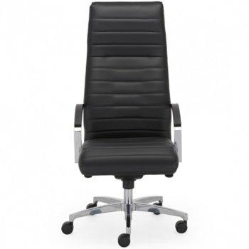 Директорски стол Lynx Steel, кожа, ергономични седалка/облегалка, люлеещ механизъм, анти-шок функция, алуминиева основа, фиксирани метални подлакътници, черен image