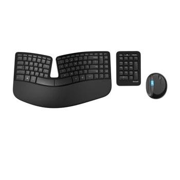 Комплект клавиатура и мишка Microsoft Sculpt Ergonomic Desktop, безжични, four-way скрол, USB, черни image