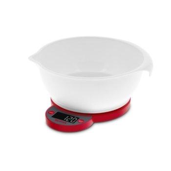 Кухненски кантар Tefal Ovelys Bowl BC5220V0, дигитален, до 5 кг, панел със сензорни бутони, дисплей с подсветка, с купа, бял image