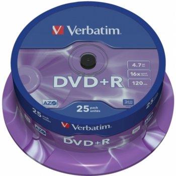 Оптичен носител DVD+R media 4.7GB, Verbatim, 16x, AZO покритие 25бр. image