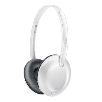Слушалки Philips Ultrlite Wireless SHB4405WT, Bluetooth 4.1, микрофон, до 10м обхват, до 9 часа време за работа, бързи бутони, сгъваеми, бели image