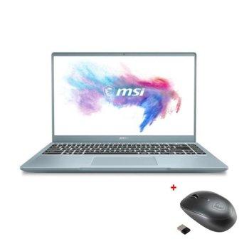 """Лаптоп MSI Modern 14 B11MO (9S7-14D312-296)(син) с подарък мишка MSI Prestige M96, четириядрен Tiger Lake Intel Core i7-1165G7 2.8/4.7 GHz, 14.0"""" (35.56 cm) Full HD IPS Anti-Glare Display, (HDMI), 8GB DDR4, 512GB SSD, 1x Type-C, Windows 10 Home image"""
