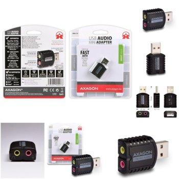 Външна звукова карта AXAGON ADA-10, USB-A(м), 3.5mm jack, MIC jack, headphones jack, черна, мини image