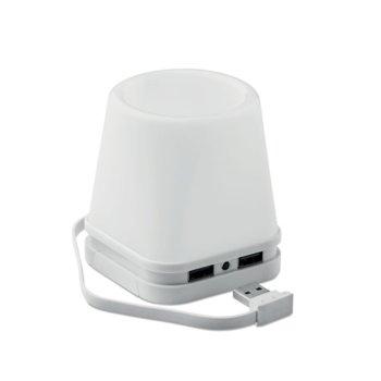 USB хъб Fuji, 4 порта, с лампа и моливник, бяла основа image