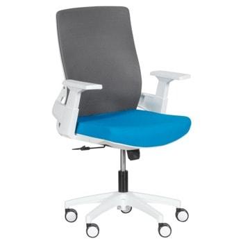 Работен стол Carmen 7547, до 120кг, дамаска/мрежа, полипропиленова база, газов амортисьор, коригиране височина, Tilt tension механизъм, син image