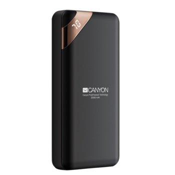 Външна батерия /power bank/ Canyon CPBP20B, 20000 mAh, черна, 2.1A/5V image