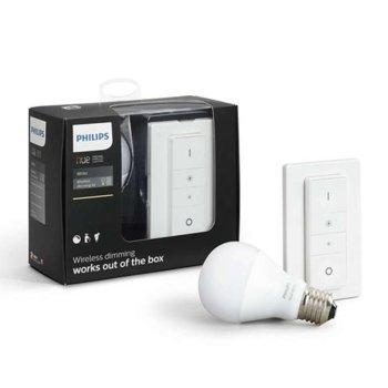 Смарт крушка Philips Hue DIM Kit 871869645252300, Wi-fi, 5.5W, формат А60, E27, 2700K, 800 lm, димираща, с включен ключ за димиране, бяла светлина image