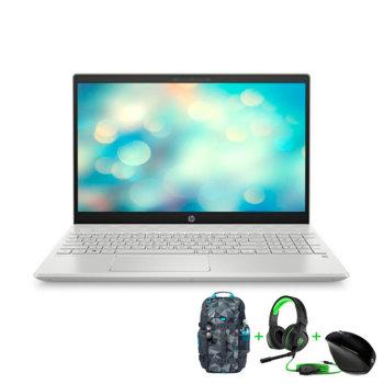 """Лаптоп HP Pavilion 15-cs3037nu (3L605EA_5WK93AA_4BX31AA_H2W26AA)(сив), с подарък слушалки, раница и мишка HP, четириядрен Intel Core i7-1065G7 1.3/3.9 GHz, 15.6"""" (39.62 cm) Full HD Display & GF MX250 4GB, (HDMI), 8GB DDR4, 256GB SSD 1TB HDD, Free DOS image"""
