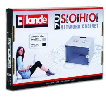 """Комуникационен шкаф Lande LN-SH04U5440-LG, 19"""", 4U, 540x400mm, стъклена врата, светло сив image"""