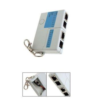 Тестер за кабели ESTILLO, RJ11, RJ45, мини, захранвано от една 9V батерия, LAN Tester  image