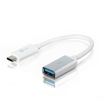 Кабел j5create JUCX05, от USB 3.1 Type C (м) към USB-A (ж), бял image