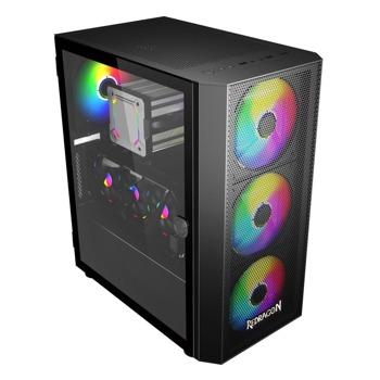 Кутия Redragon SkyFire (GC-XA216), ATX/Micro ATX/Mini-ITX, 1x USB 3.0, 2x USB 2.0, прозорец, черна, без захранване image