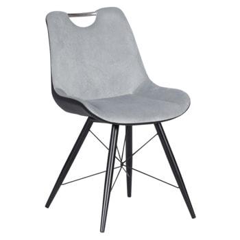 Трапезен стол Carmen PENZA, до 100кг. макс. тегло, дамаска/еко кожа, метална база, сив image