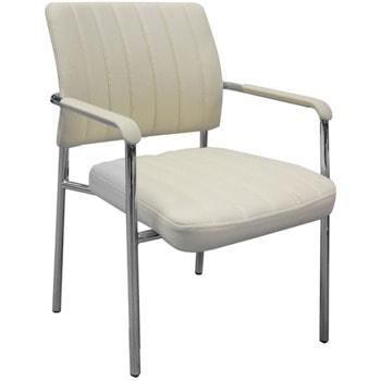 Посетителски стол RFG Glos M, до 120кг. макс тегло, еко кожа, бежов image