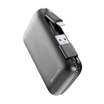 Външна батерия/power bank/ Cellular Line FreePower Cable, 5000 mAh, с Lightning(м) кабел, черна image