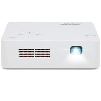 Проектор Acer C202i, DLP, WVGA (854х480), 5.000:1, 300 lm, Wi-Fi, HDMI, USB, вградена батерия, бял image