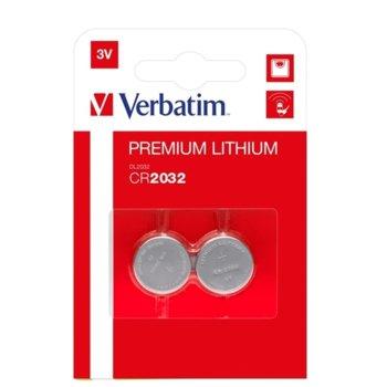 Батерия литиева Verbatim, CR2032, 3V, 2 бр. image