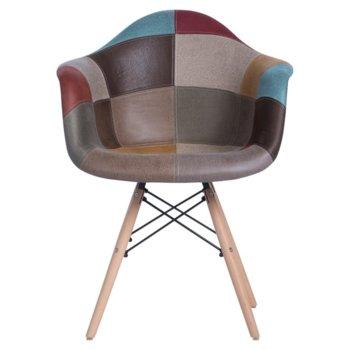 Трапезен стол Carmen 9971, дамазка, материал от бук, многоцветен image