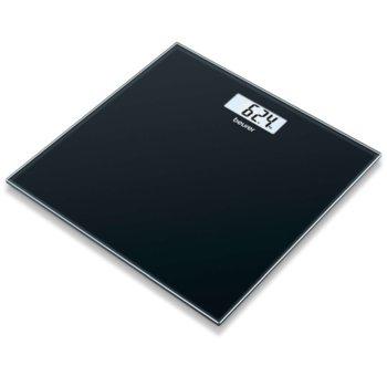 Цифров кантар Beurer GS 10 Glass scale black, капацитет 180 кг, LCD дисплей, с включена батерия, черен image