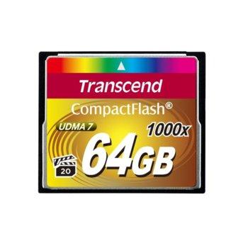 Карта памет 64GB CompactFlash, Transcend Ultimate, 1066x, скорост на четене 160MB/s, скорост на запис 120MB/s image