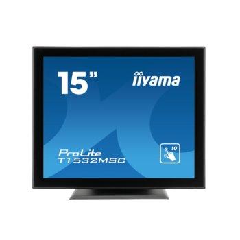 "Дисплей Iiyama T1532MSC-B5X, тъч дисплей, 15"" (38.1 cm), XGA, DisplayPort, VGA, HDMI image"