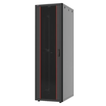 """Комуникационен шкаф Security Professionals MR.GTN26U66.02, 19"""", 26U, 600 x 600 x 1292, свободностоящ, товароносимост 600кг, вентилационни отвори, стъклена врата, отваряеми задни и странични панели с опция сектретно заключване, черен image"""